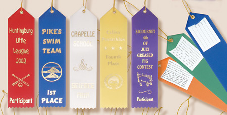 Custom Award Ribbons with Event Card and String