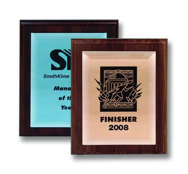 Mirrored Glass Plaques (Walnut)