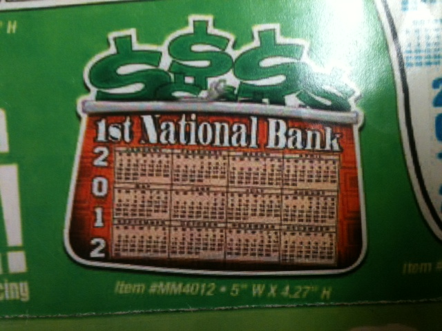 2013 MONEY BAG CALENDAR MAGNET GM-MM4012