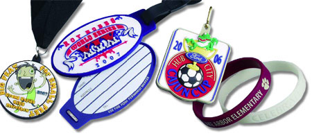 Custom Polyvinyl Bag Tags, Bracelets, & Medals